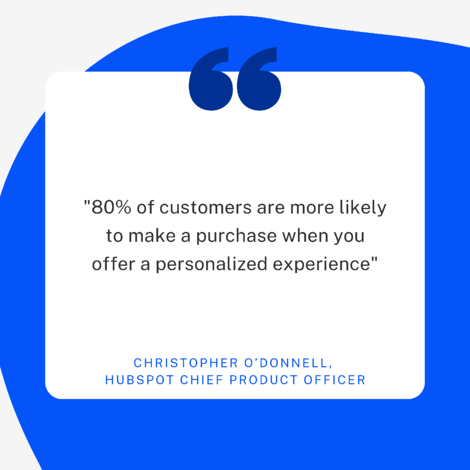"""Chris ODonnell INBOUND2020 Quote: """"80% of customers are more likely to make a purchase when you offer a personalized experience"""""""